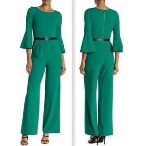Calvin Klein Belted Bell Sleeve Jumpsuit Green 14